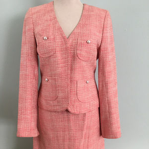 Pink & White Suit with Pearl Buttons